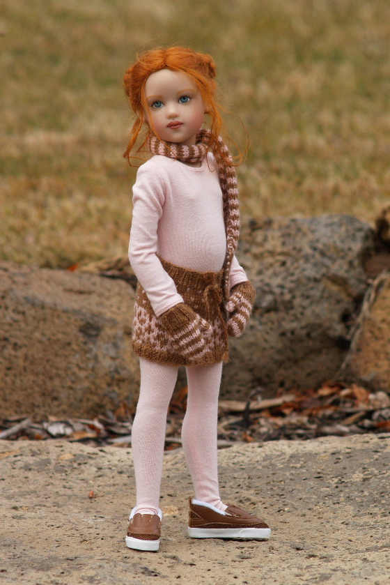 """GAP GIRL""""--Fair Isle Skirt, Scarf & Mittens Pattern for 14"""" Lark"""
